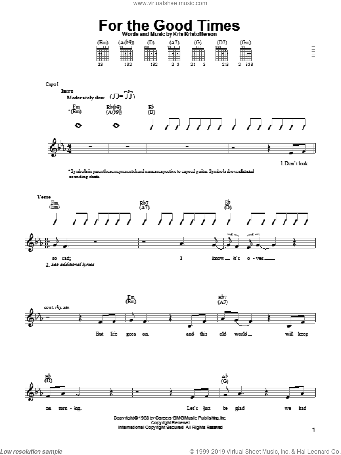 For The Good Times sheet music for guitar solo (chords) by Ray Price, Elvis Presley and Kris Kristofferson, easy guitar (chords)