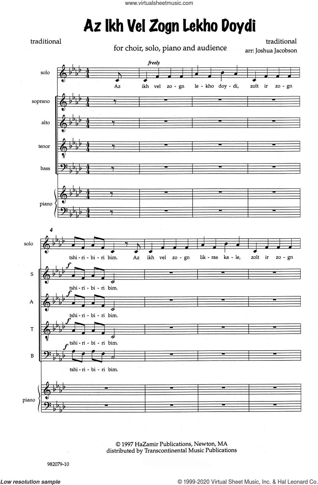 Az Ikh Vel Zogn Lekho Doydi sheet music for choir (SATB: soprano, alto, tenor, bass) by Joshua Jacobson, classical score, intermediate skill level