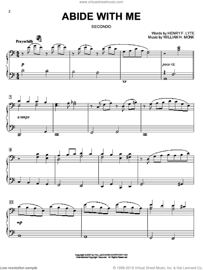 Abide With Me sheet music for piano four hands by Henry F. Lyte and William Henry Monk, intermediate skill level