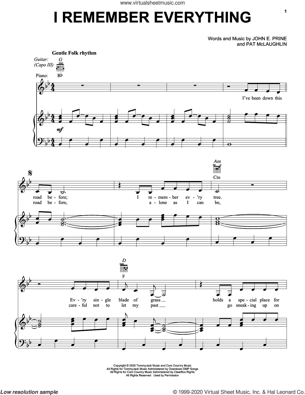 I Remember Everything sheet music for voice, piano or guitar by John Prine, John E. Prine and Pat McLaughlin, intermediate skill level