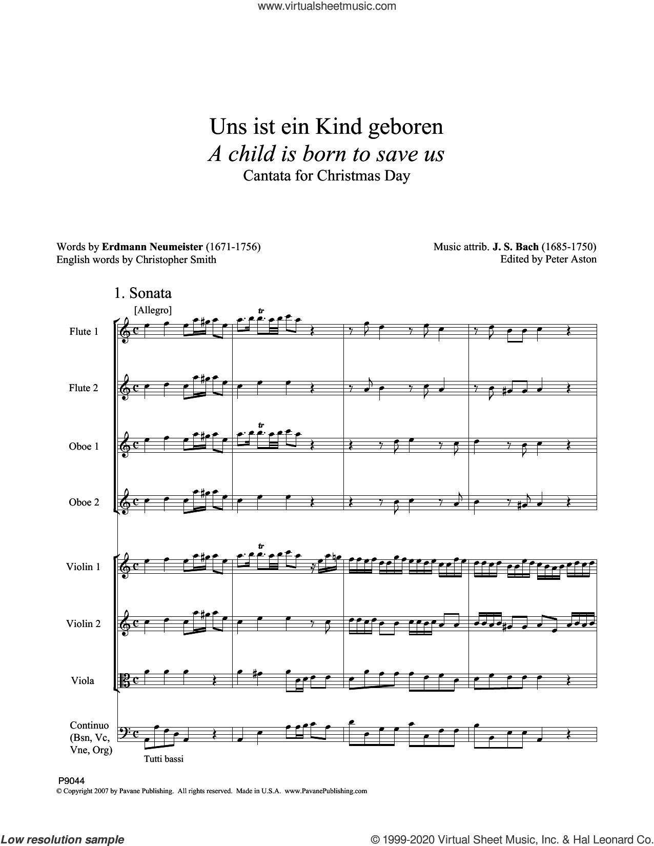 A Child Is Born To Save Us (Uns ist ein Kind geboren) (Full Score) (ed. Peter Aston) sheet music for orchestra/band (full score) by Johann Sebastian Bach and Peter Aston, classical score, intermediate skill level
