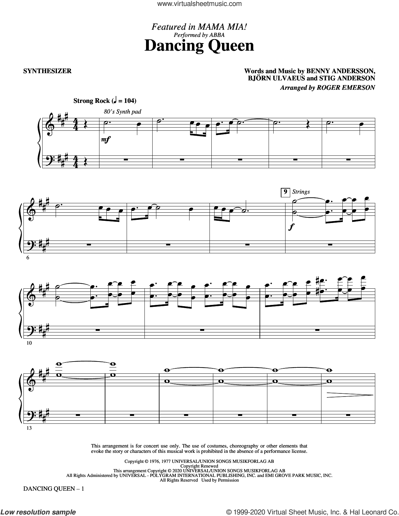 Dancing Queen (from Mamma Mia!) (arr. Roger Emerson) (complete set of parts) sheet music for orchestra/band by Roger Emerson, ABBA, Benny Andersson, Bjorn Ulvaeus and Stig Anderson, intermediate skill level