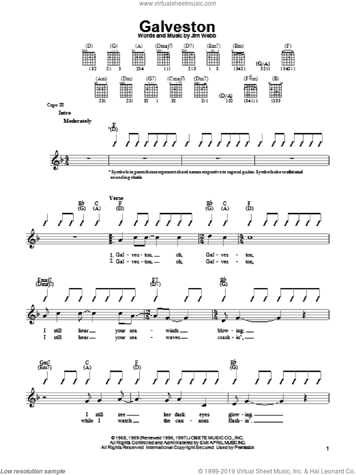 Galveston sheet music for guitar solo (chords) by Glen Campbell and Jim Webb, easy guitar (chords)