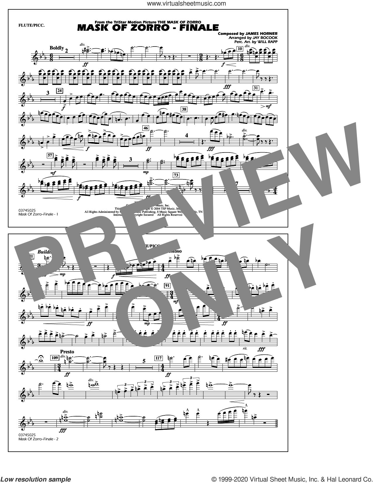 The Mask of Zorro, finale (arr. jay bocook) sheet music for marching band (flute/piccolo) by James Horner, Jay Bocook and Will Rapp, intermediate skill level