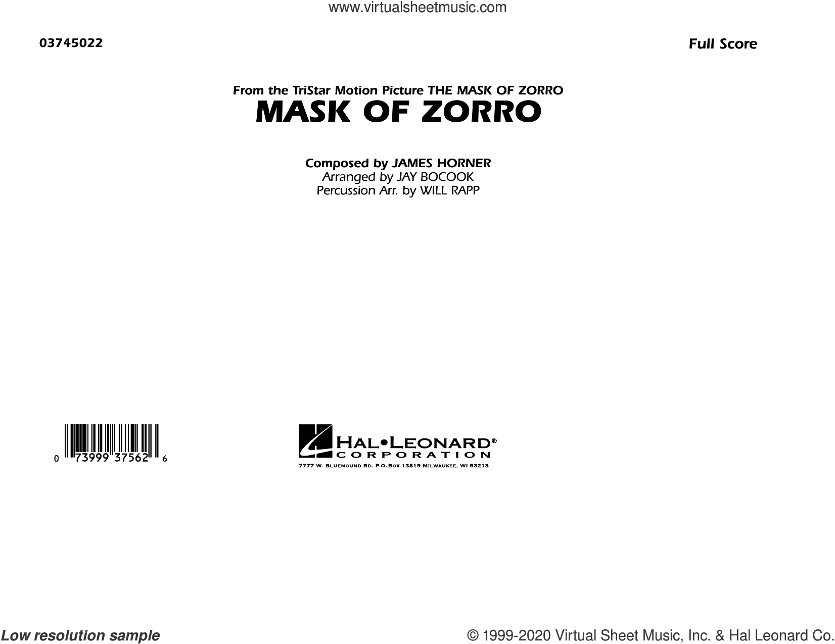Mask of Zorro (arr. Jay Bocook) (COMPLETE) sheet music for marching band by James Horner, Jay Bocook and Will Rapp, intermediate skill level