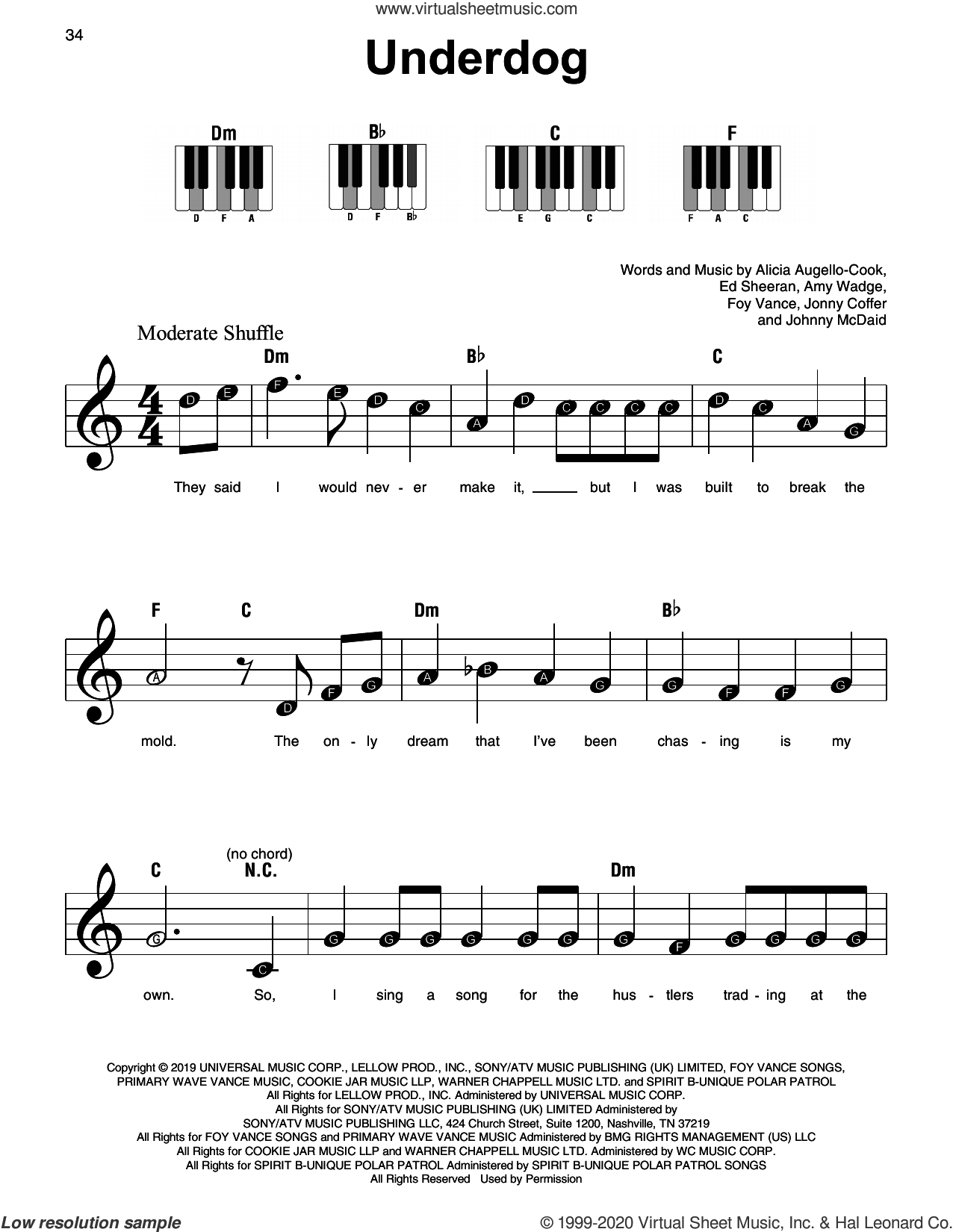 Underdog sheet music for piano solo by Alicia Keys, Alicia Augello-Cook, Amy Wadge, Ed Sheeran, Foy Vance, Johnny McDaid and Jonny Coffer, beginner skill level