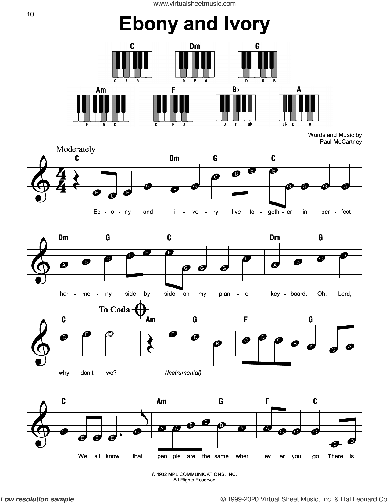 Ebony And Ivory sheet music for piano solo by Paul McCartney and Stevie Wonder and Paul McCartney, beginner skill level