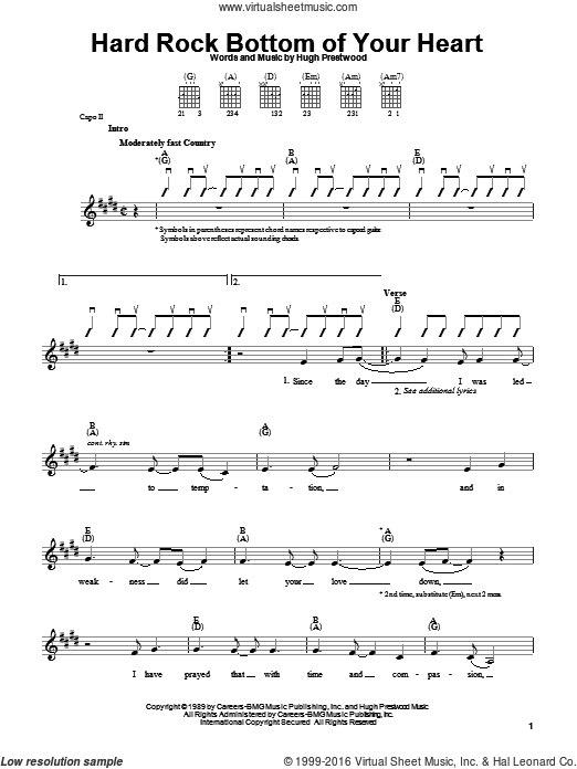 Hard Rock Bottom Of Your Heart sheet music for guitar solo (chords) by Hugh Prestwood and Randy Travis. Score Image Preview.