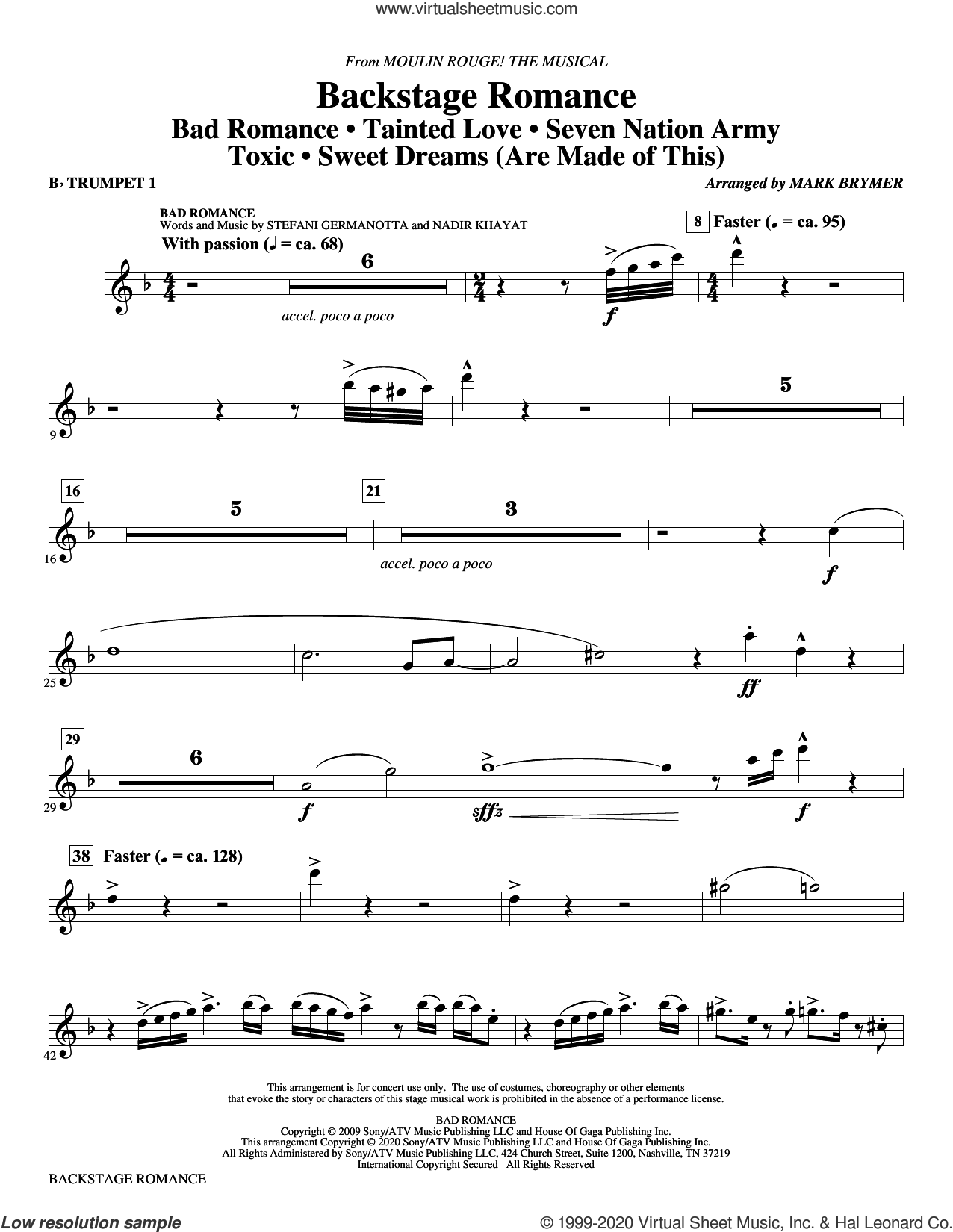 Backstage Romance (from Moulin Rouge! The Musical) (complete set of parts) sheet music for orchestra/band by Mark Brymer, intermediate skill level