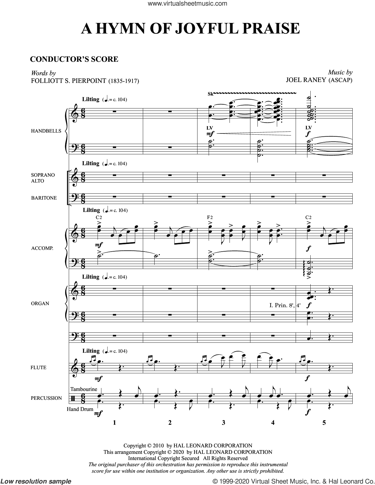 A Hymn of Joyful Praise (COMPLETE) sheet music for orchestra/band by Folliott Pierpoint and Joel Raney, Folliott Pierpoint and Joel Raney, intermediate skill level