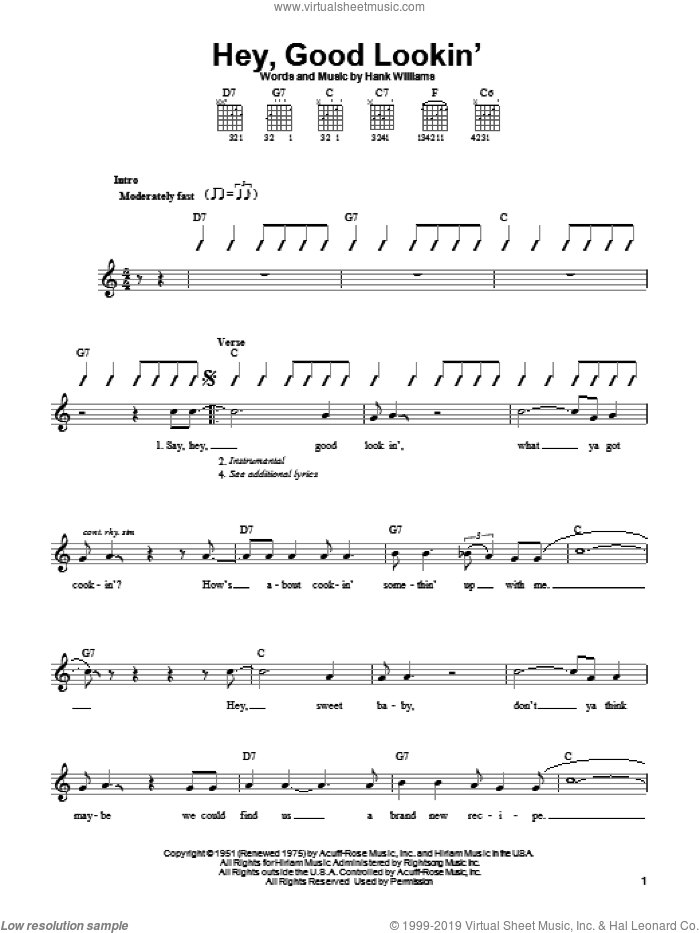 Hey, Good Lookin' sheet music for guitar solo (chords) by Hank Williams, easy guitar (chords)