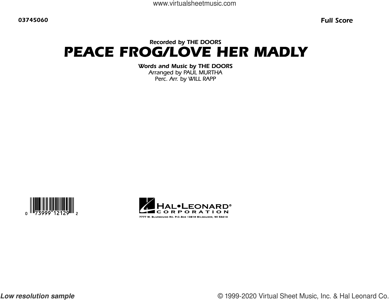 Peace Frog/Love Her Madly (arr. Paul Murtha) (COMPLETE) sheet music for marching band by Paul Murtha and The Doors, intermediate skill level