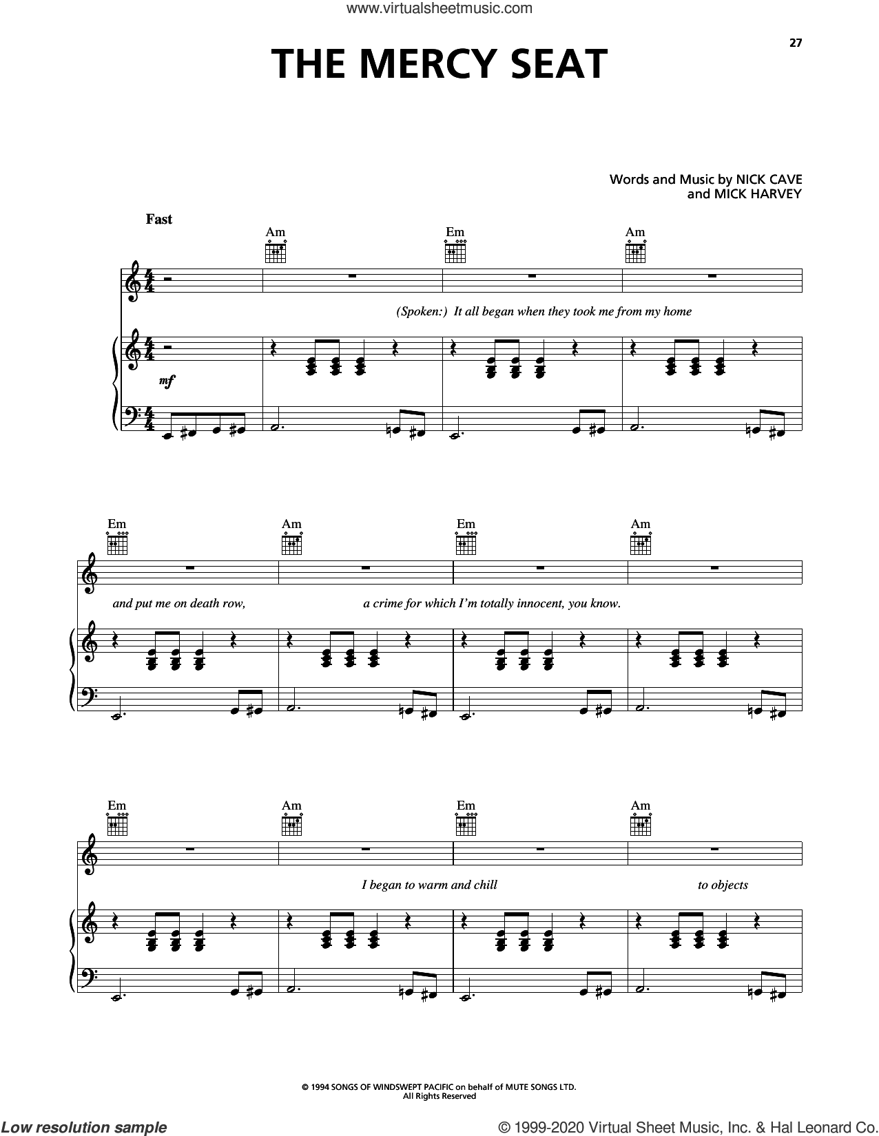 The Mercy Seat sheet music for voice, piano or guitar by Johnny Cash, Mick Harvey and Nick Cave, intermediate skill level