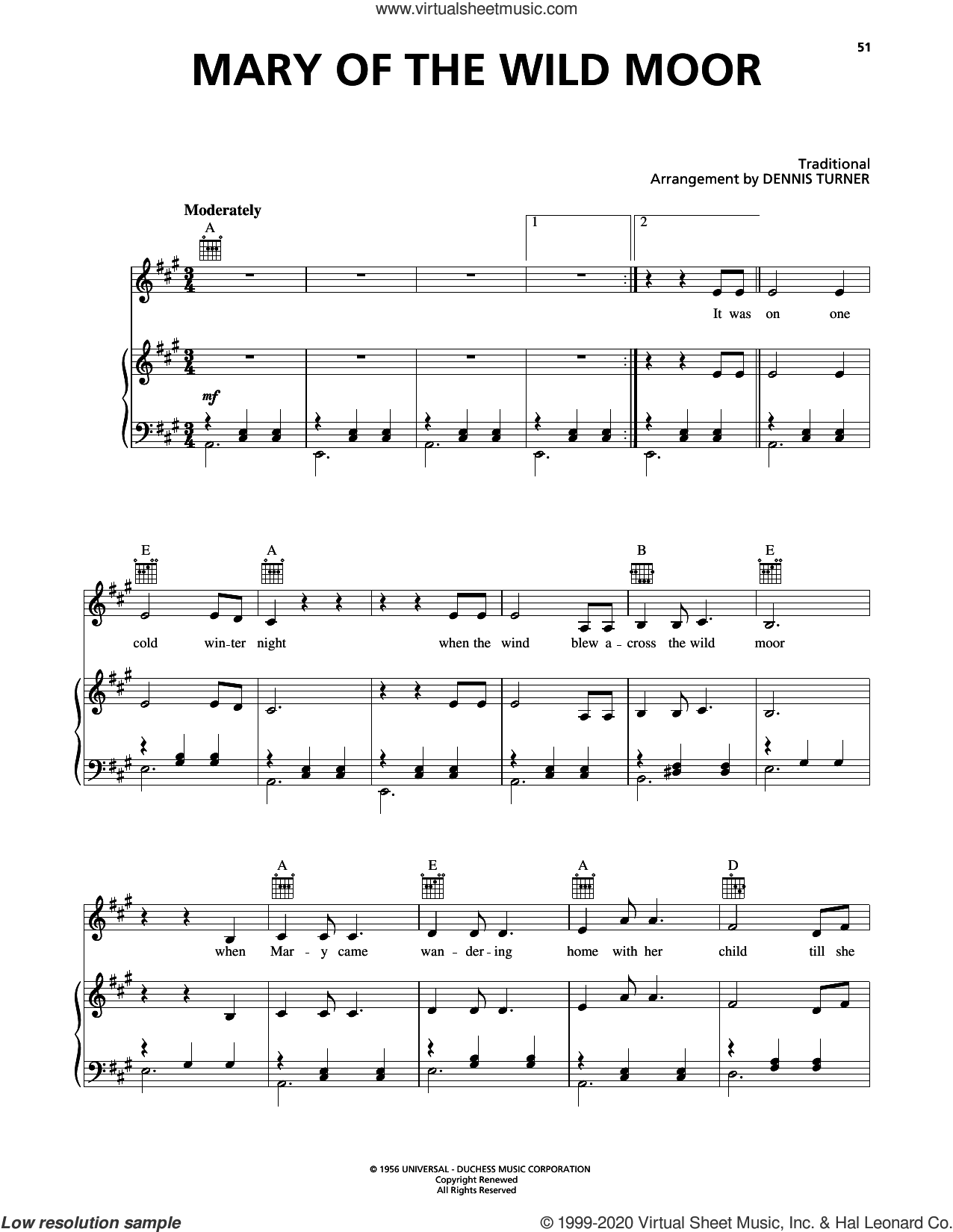 Mary Of The Wild Moor sheet music for voice, piano or guitar by Johnny Cash, Dennis Turner and Miscellaneous, intermediate skill level