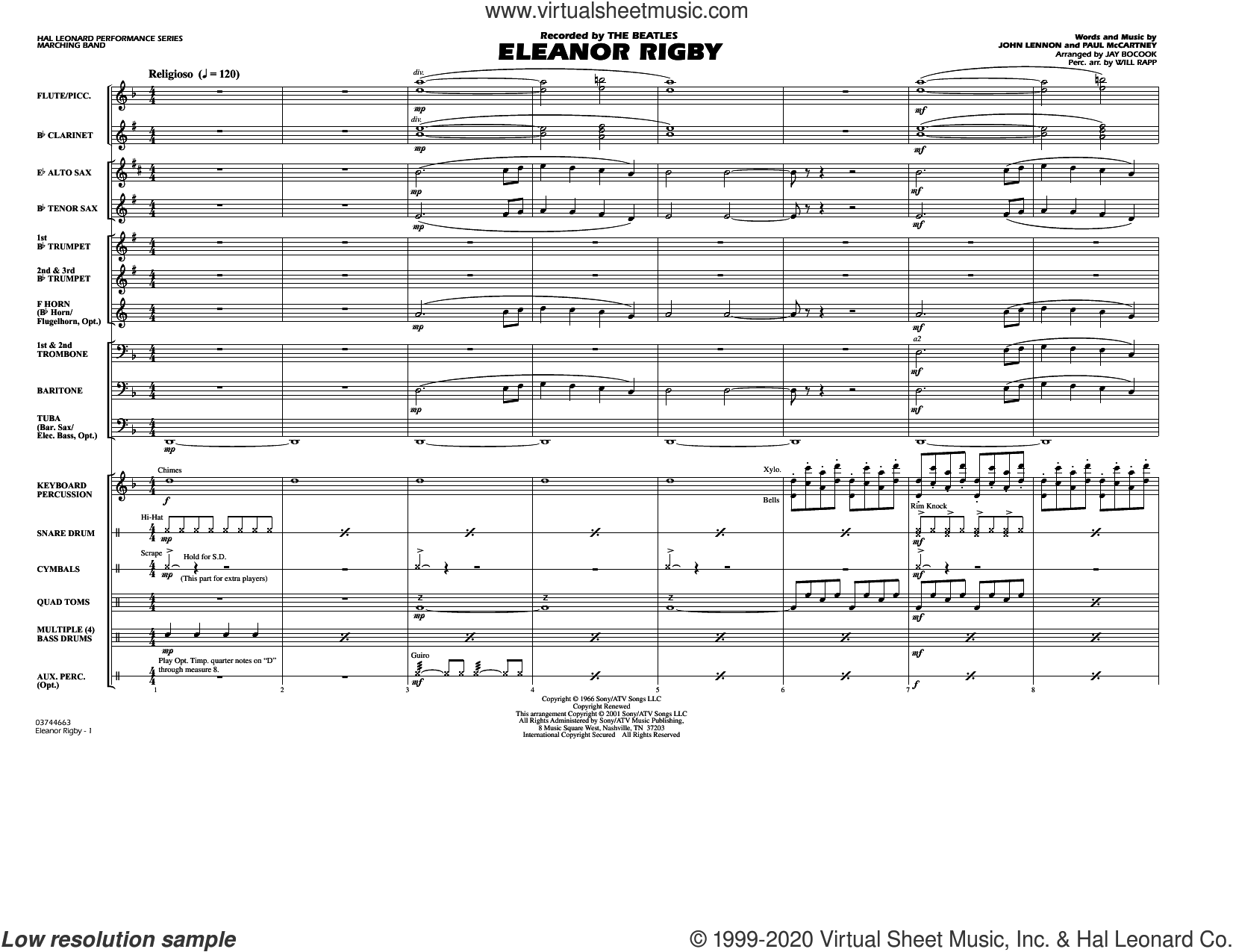 Eleanor Rigby (arr. Jay Bocook) (COMPLETE) sheet music for marching band by The Beatles, Jay Bocook, John Lennon, Paul McCartney and Will Rapp, intermediate skill level