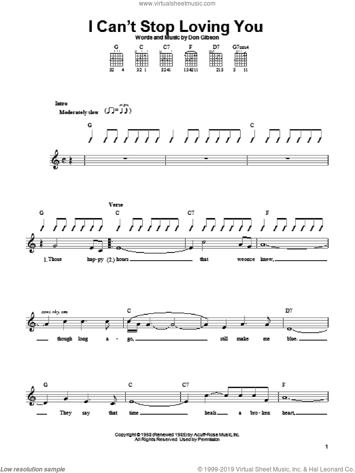 I Can't Stop Loving You sheet music for guitar solo (chords) by Don Gibson, easy guitar (chords). Score Image Preview.