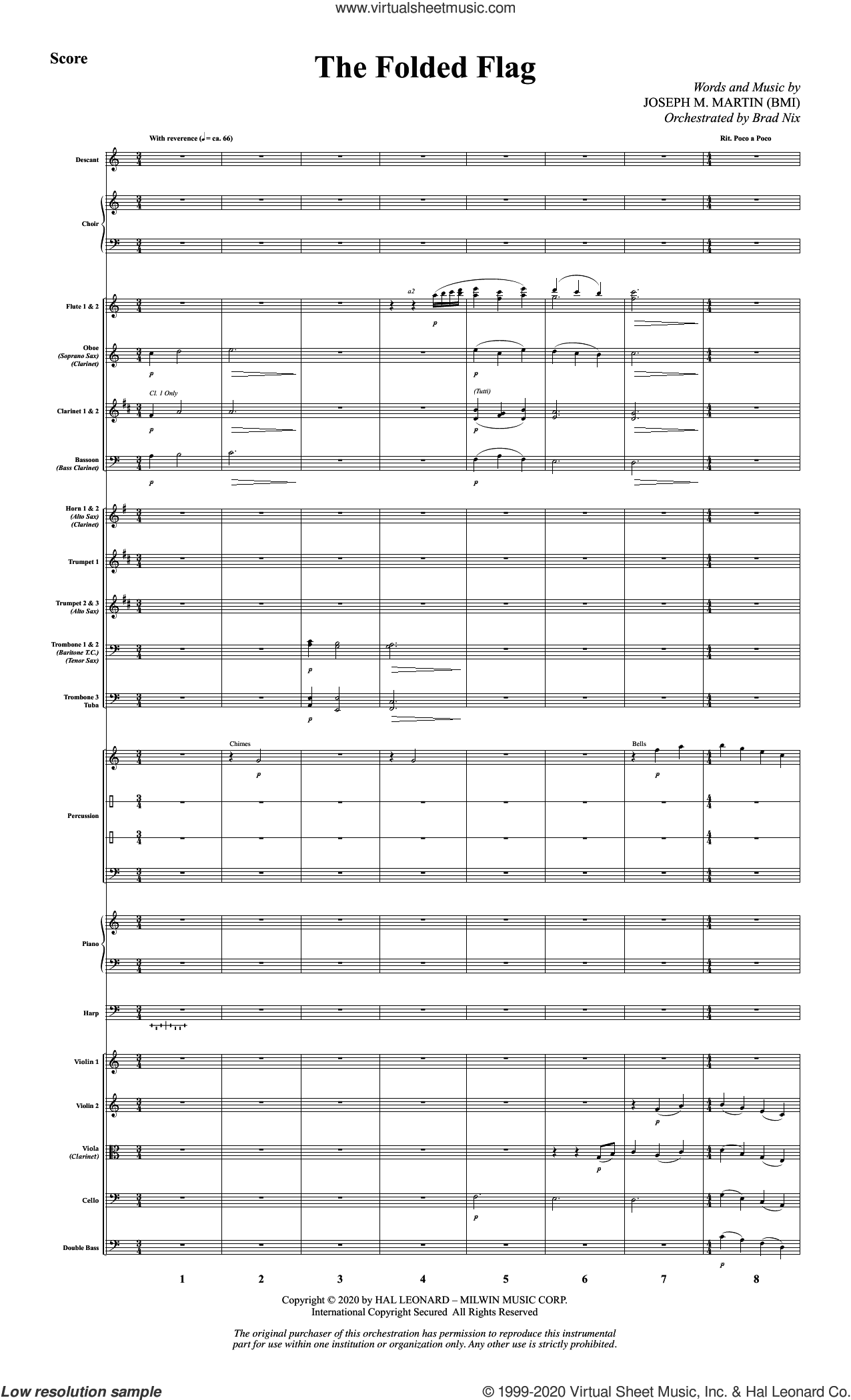 The Folded Flag (COMPLETE) sheet music for orchestra/band by Joseph M. Martin, intermediate skill level