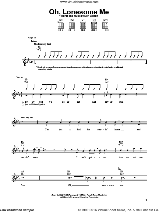 Oh, Lonesome Me sheet music for guitar solo (chords) by Don Gibson. Score Image Preview.