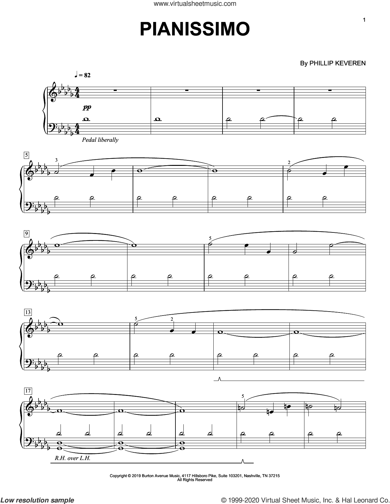 Pianissimo sheet music for piano solo by Phillip Keveren, classical score, intermediate skill level