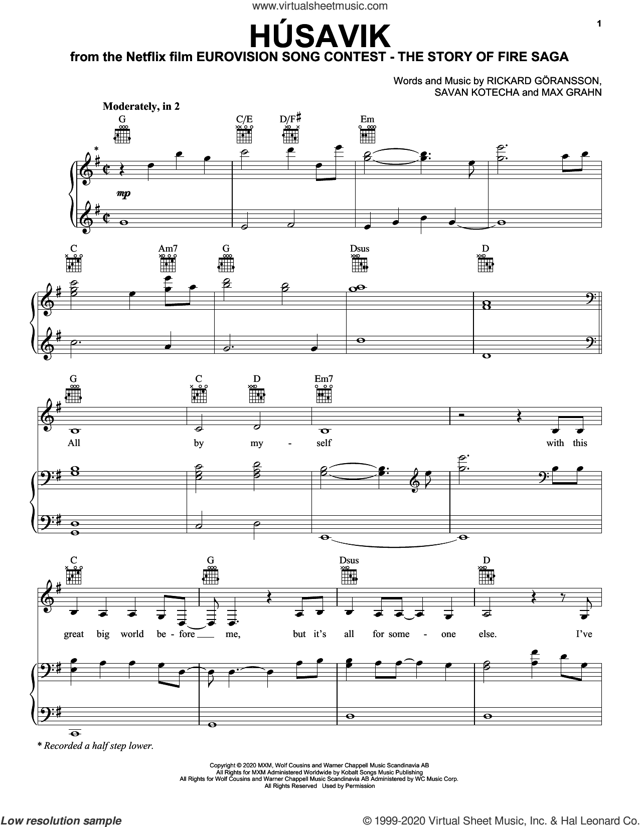 Husavik (from Eurovision Song Contest: The Story of Fire Saga) sheet music for voice, piano or guitar by Will Ferrell & My Marianne, My Marianne, Will Ferrell, Max Grahn, Rickard Goransson and Savan Kotecha, intermediate skill level