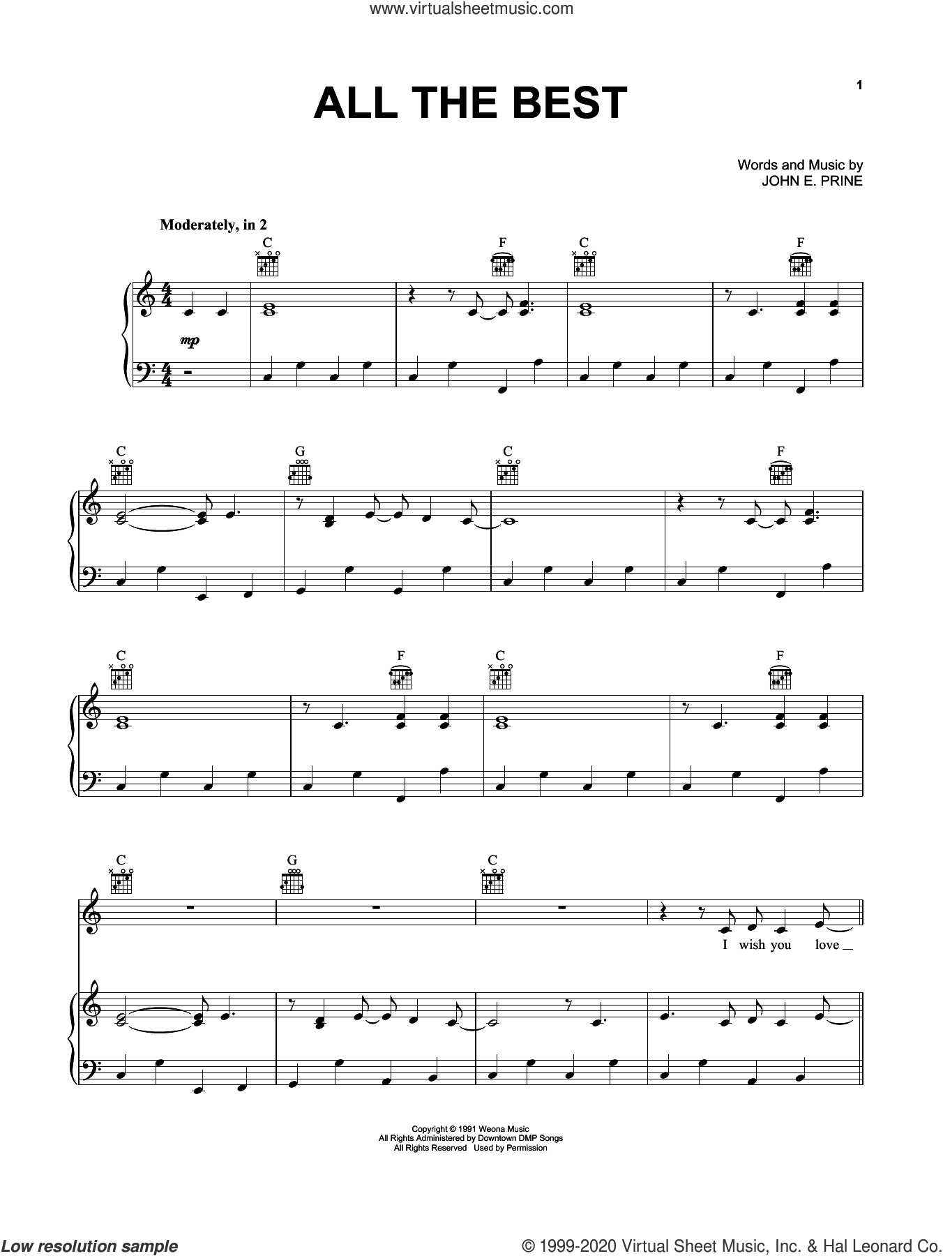 All The Best sheet music for voice, piano or guitar by John Prine and John E. Prine, intermediate skill level