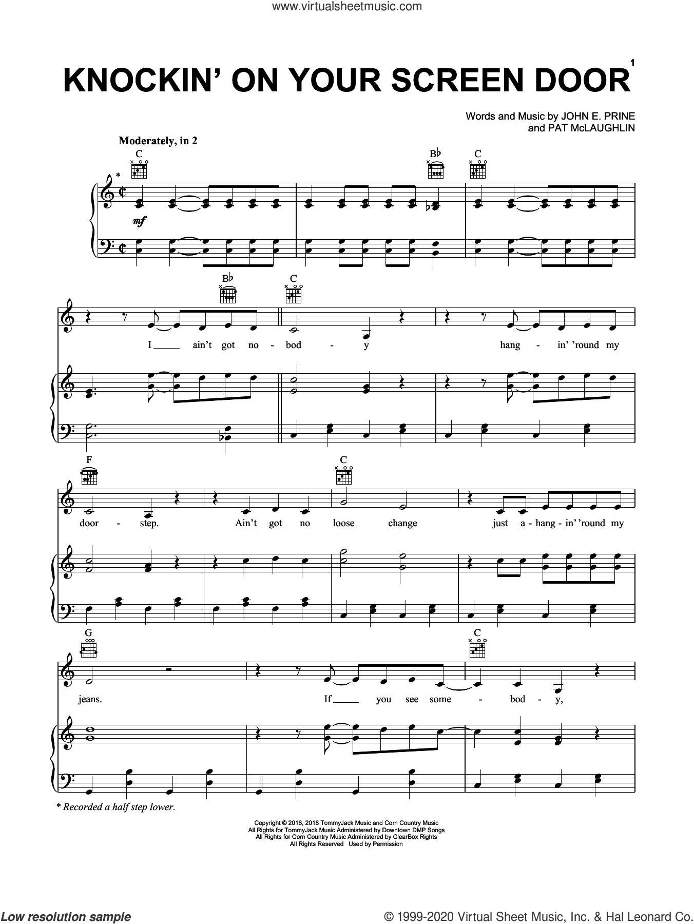 Knockin' On Your Screen Door sheet music for voice, piano or guitar by John Prine, John E. Prine and Pat McLaughlin, intermediate skill level