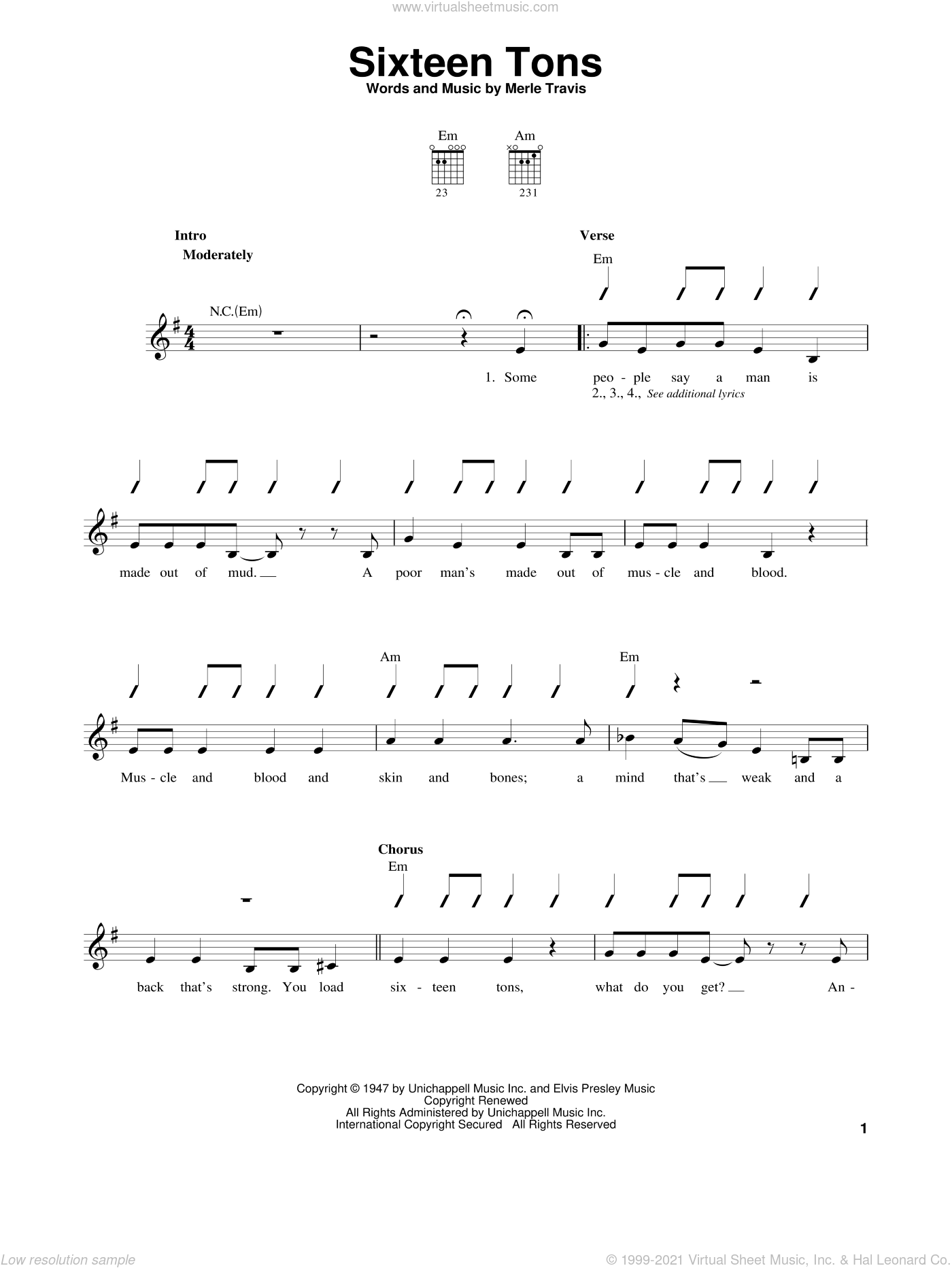 Sixteen Tons sheet music for guitar solo (chords) by Merle Travis and Tennessee Ernie Ford. Score Image Preview.