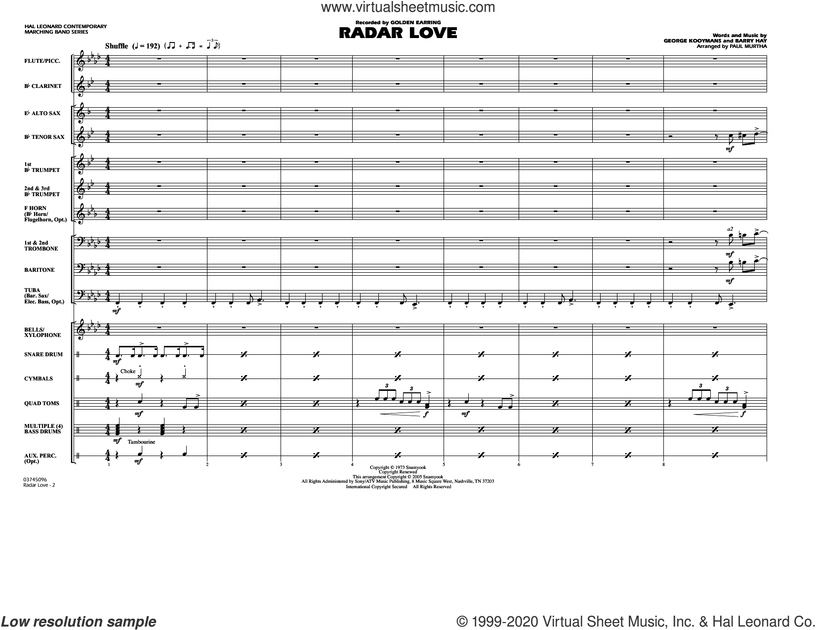 Radar Love (arr. Paul Murtha) (COMPLETE) sheet music for marching band by Paul Murtha, Barry Hay, George Kooymans and Golden Earring, intermediate skill level