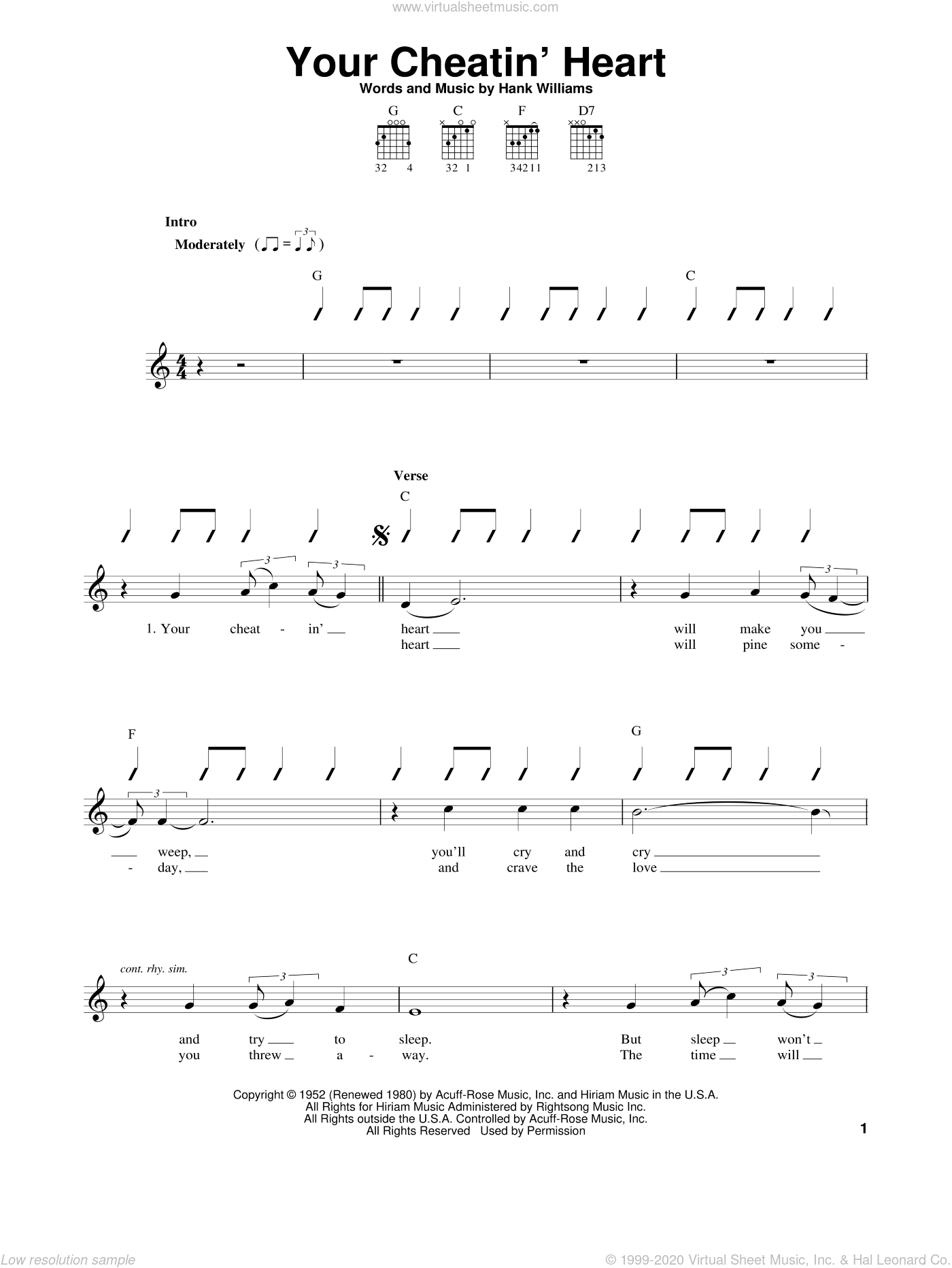 Your Cheatin' Heart sheet music for guitar solo (chords) by Hank Williams and Patsy Cline, easy guitar (chords)