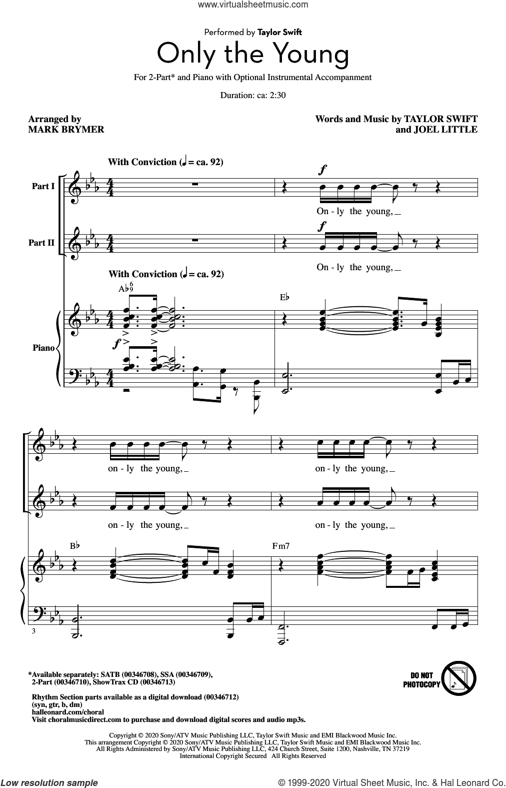 Only The Young (arr. Mark Brymer) sheet music for choir (2-Part) by Taylor Swift, Mark Brymer and Joel Little, intermediate duet