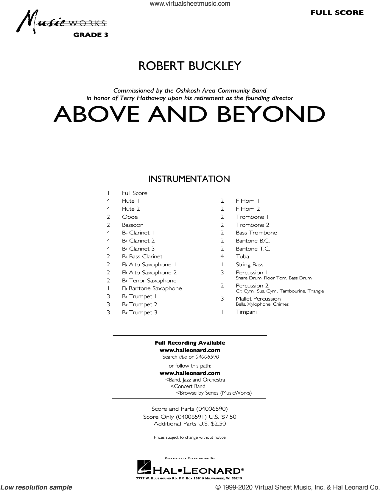 Above and Beyond (COMPLETE) sheet music for concert band by Robert Buckley, intermediate skill level