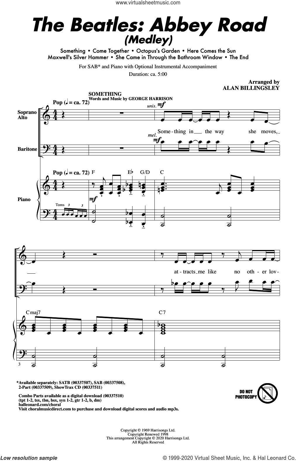 The Beatles: Abbey Road (Medley) (arr. Alan Billingsley) sheet music for choir (SAB: soprano, alto, bass) by The Beatles, Alan Billingsley, John Lennon and Paul McCartney, intermediate skill level
