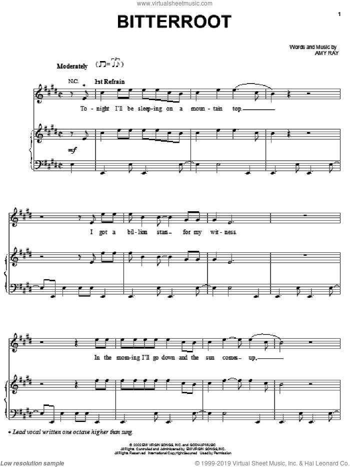 Bitterroot sheet music for voice, piano or guitar by Indigo Girls and Amy Ray, intermediate skill level