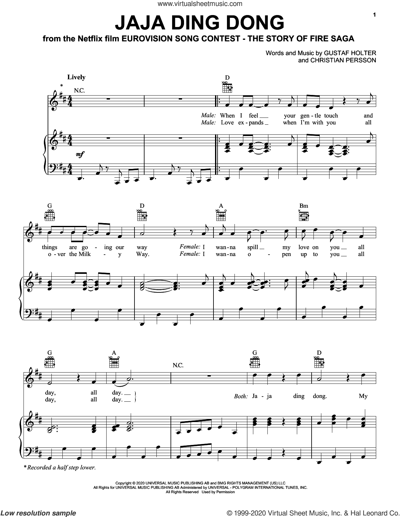 Jaja Ding Dong (from Eurovision Song Contest: The Story of Fire Saga) sheet music for voice, piano or guitar by Will Ferrell & My Marianne, Christian Persson and Gustaf Holter, intermediate skill level