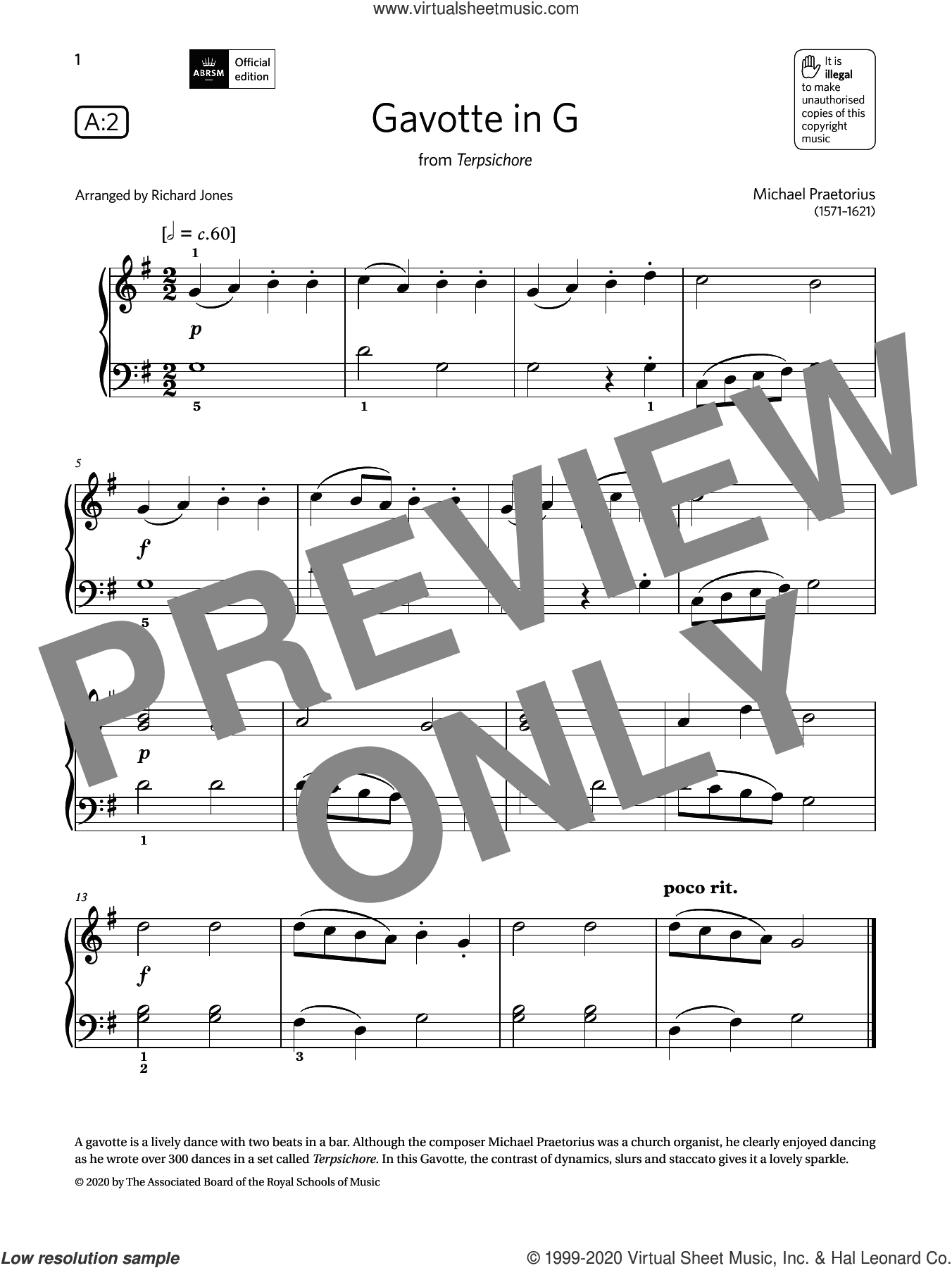 Gavotte in G (Grade Initial, list A2, from the ABRSM Piano Syllabus 2021 and 2022) sheet music for piano solo by Michael Praetorius and Richard Jones, intermediate skill level