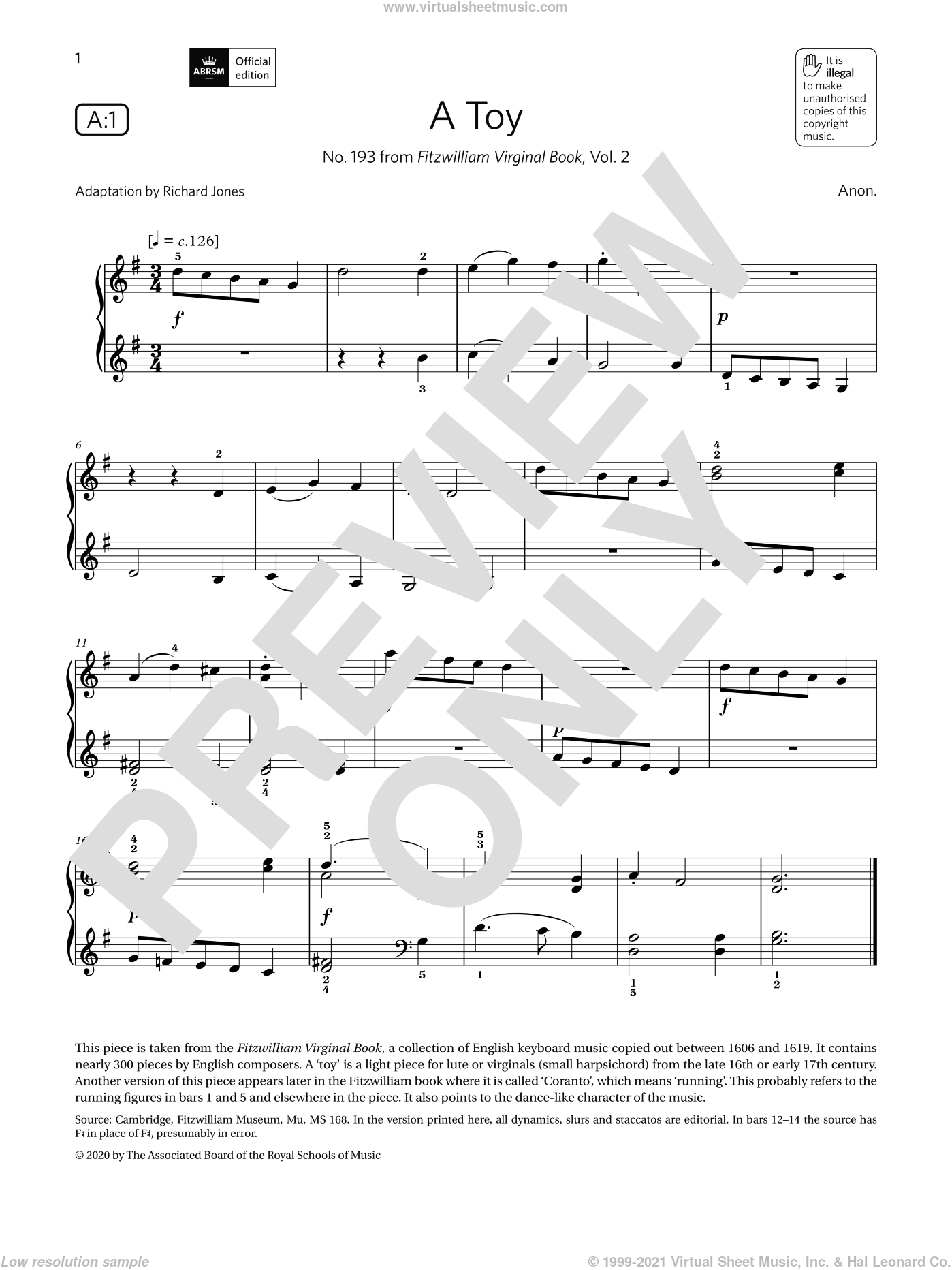 A Toy (Grade 1, list A1, from the ABRSM Piano Syllabus 2021 and 2022) sheet music for piano solo by Anon, classical score, intermediate skill level