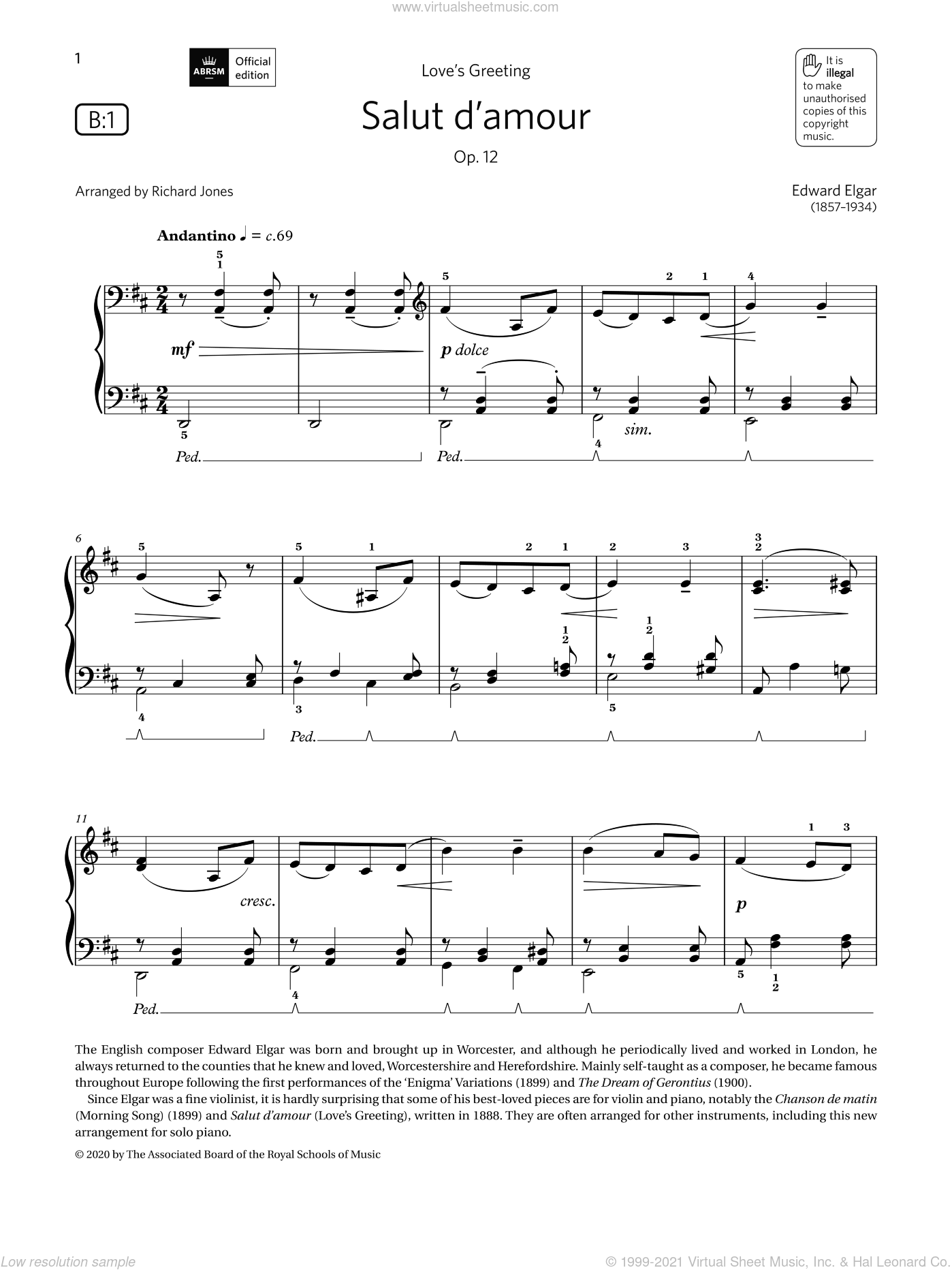 Salut d'amour (Grade 3, list B1, from the ABRSM Piano Syllabus 2021 and 2022) sheet music for piano solo by Edward Elgar and Richard Jones, classical score, intermediate skill level