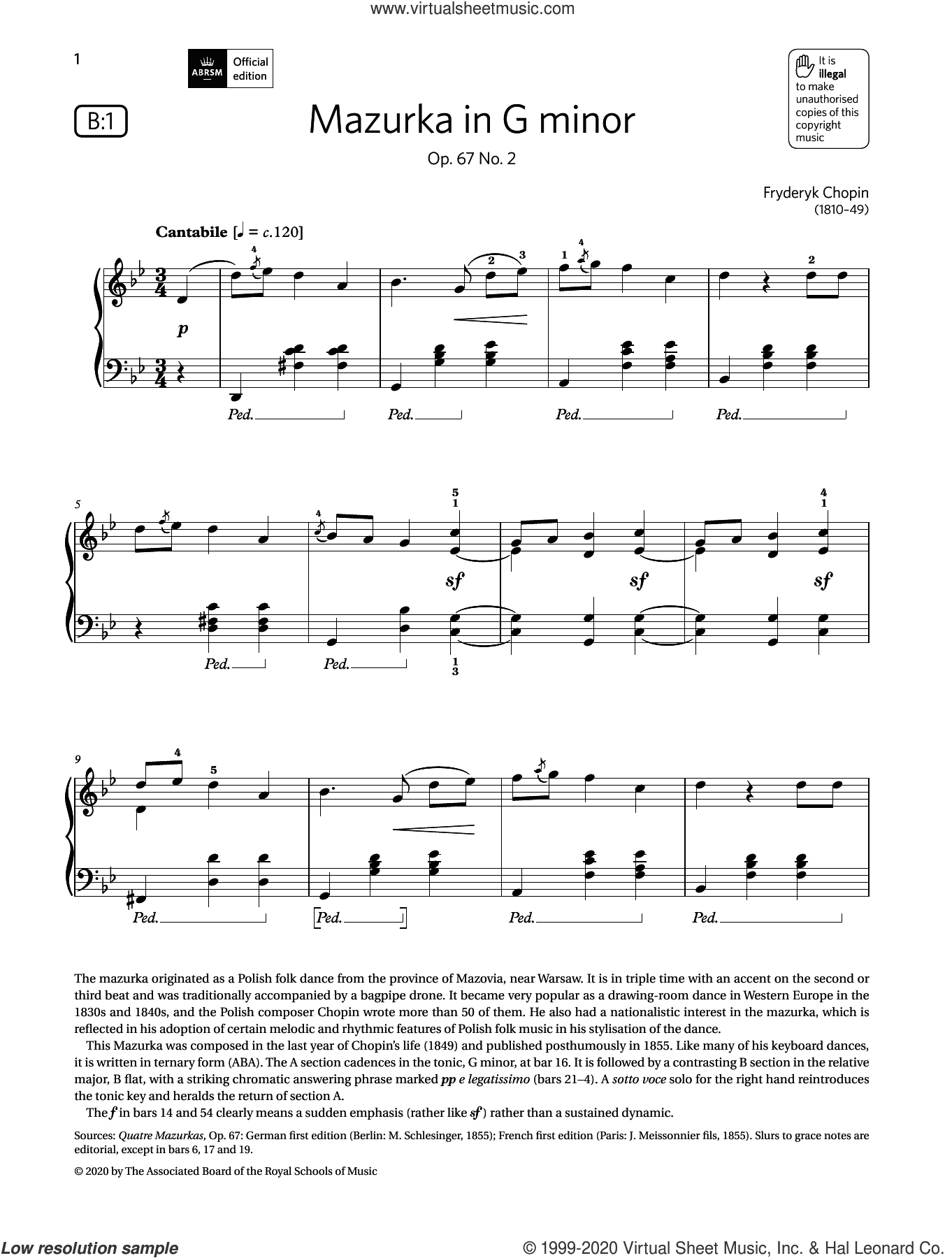 Mazurka in G minor (Grade 6, list B1, from the ABRSM Piano Syllabus 2021 and 2022) sheet music for piano solo by Frederic Chopin, classical score, intermediate skill level