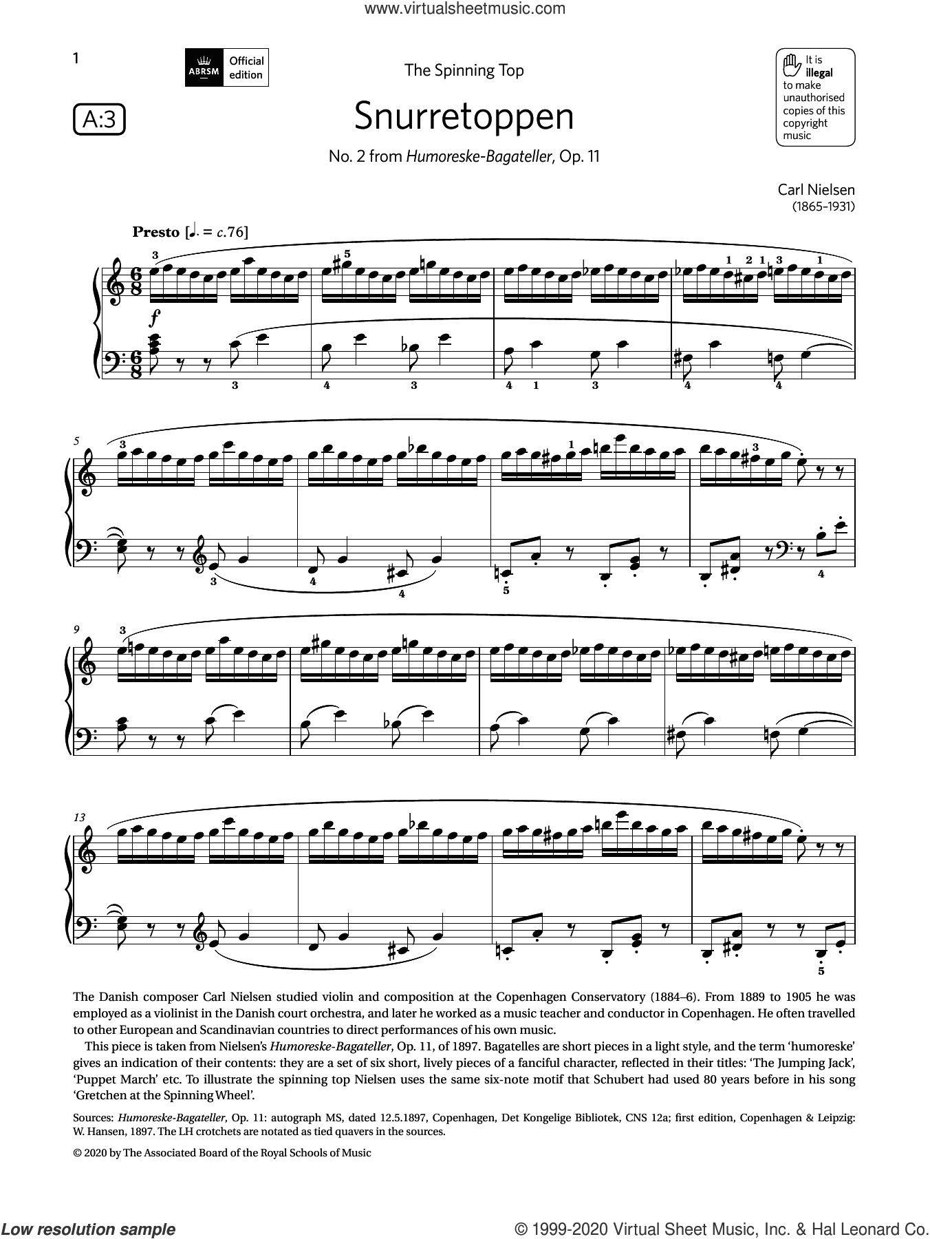 Snurretoppen (Grade 6, list A3, from the ABRSM Piano Syllabus 2021 and 2022) sheet music for piano solo by Carl Nielsen, classical score, intermediate skill level