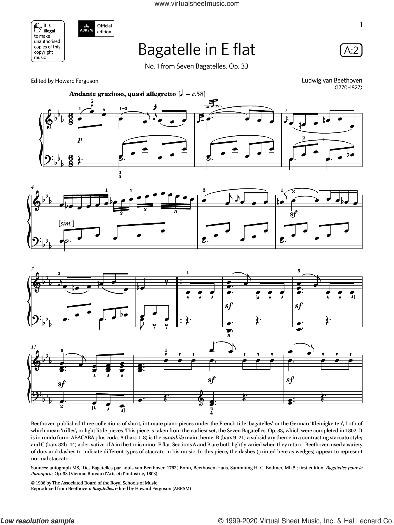 Bagatelle in E flat (Grade 7, list A2, from the ABRSM Piano Syllabus 2021 and 2022) sheet music for piano solo by Ludwig van Beethoven, classical score, intermediate skill level