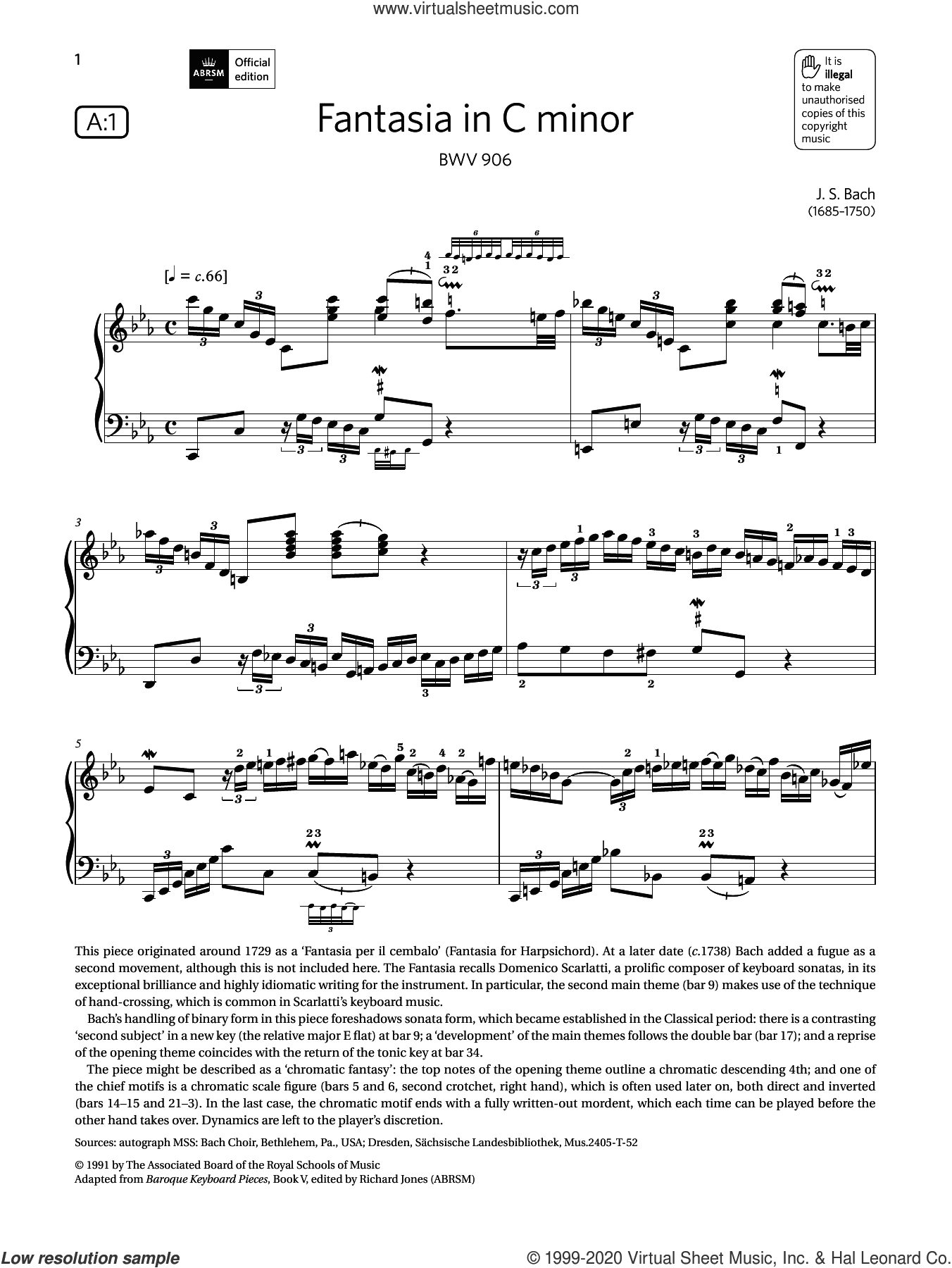 Fantasia in C minor (Grade 8, list A1, from the ABRSM Piano Syllabus 2021 and 2022) sheet music for piano solo by Johann Sebastian Bach, classical score, intermediate skill level