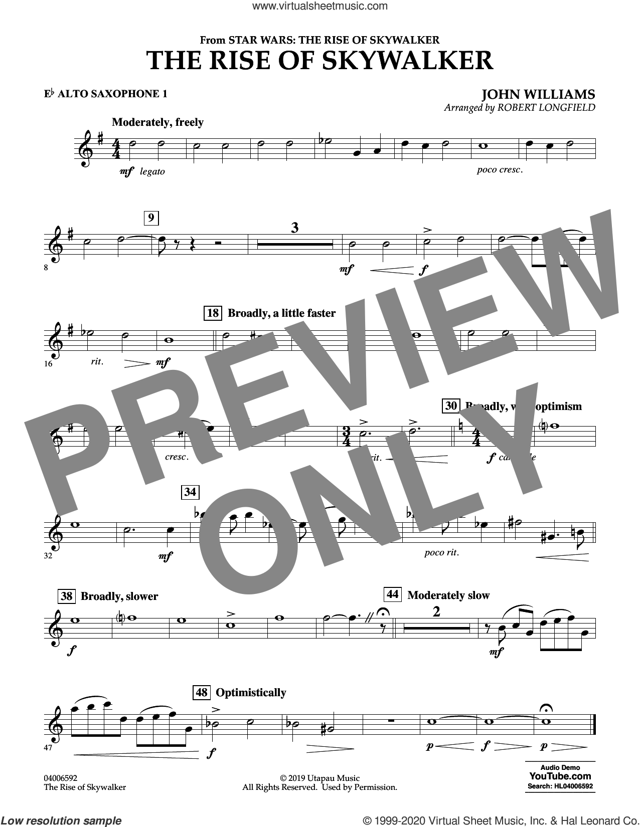 The Rise of Skywalker (from Star Wars: The Rise of Skywalker) sheet music for concert band (Eb alto saxophone 1) by John Williams and Robert Longfield, intermediate skill level