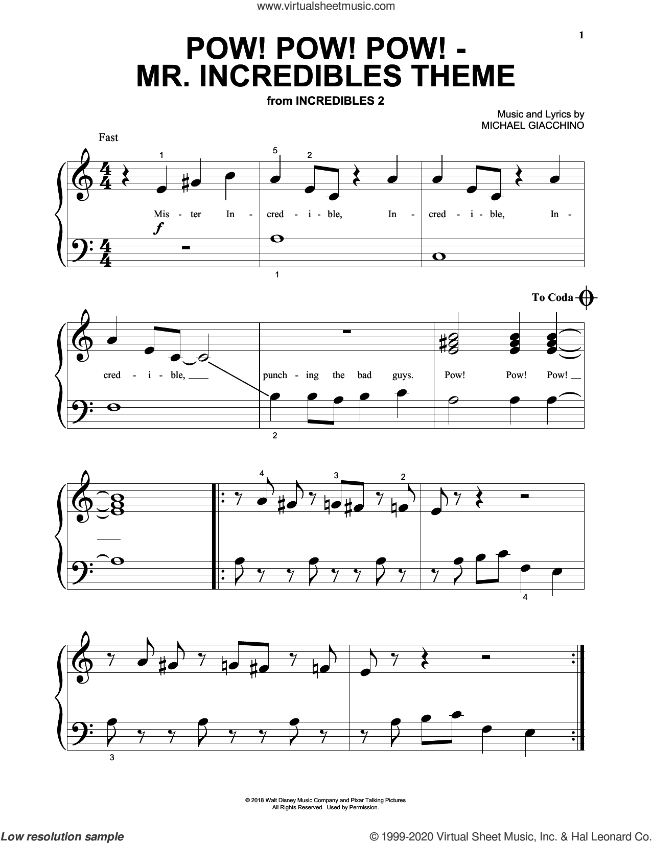 Pow! Pow! Pow! - Mr. Incredibles Theme (from Incredibles 2) sheet music for piano solo (big note book) by Michael Giacchino, easy piano (big note book)
