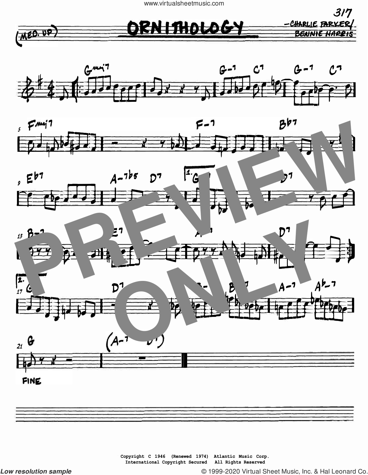 Ornithology sheet music for voice and other instruments (in C) by Charlie Parker and Bennie Harris, intermediate skill level