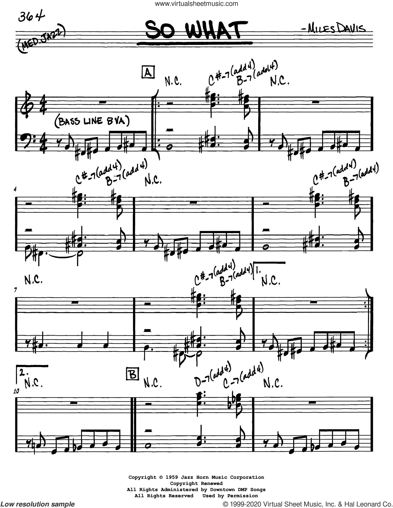 So What sheet music for voice and other instruments (in Eb) by Miles Davis, intermediate skill level