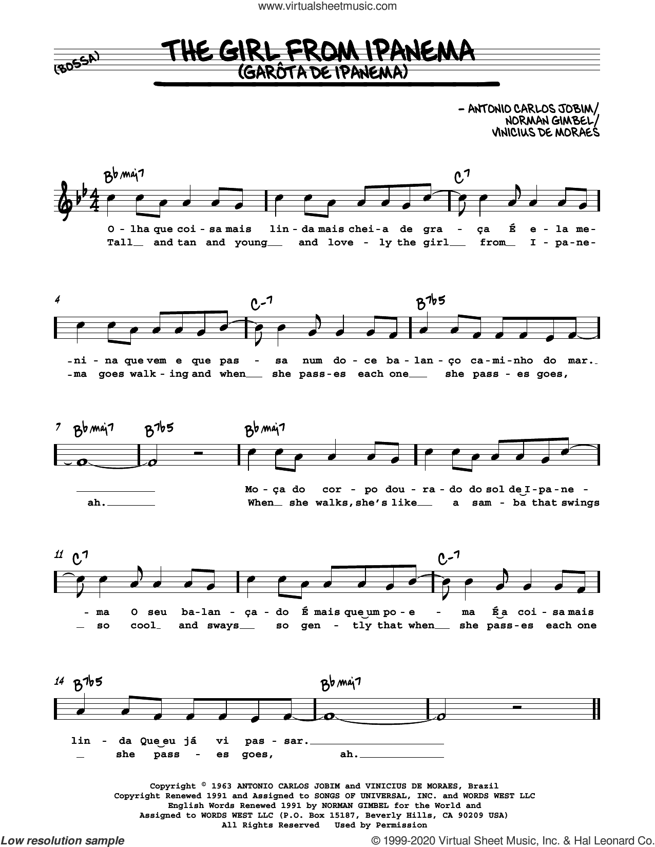 The Girl From Ipanema (Garota De Ipanema) sheet music for voice and other instruments (in Eb) by Norman Gimbel, Antonio Carlos Jobim and Vinicius de Moraes, intermediate skill level