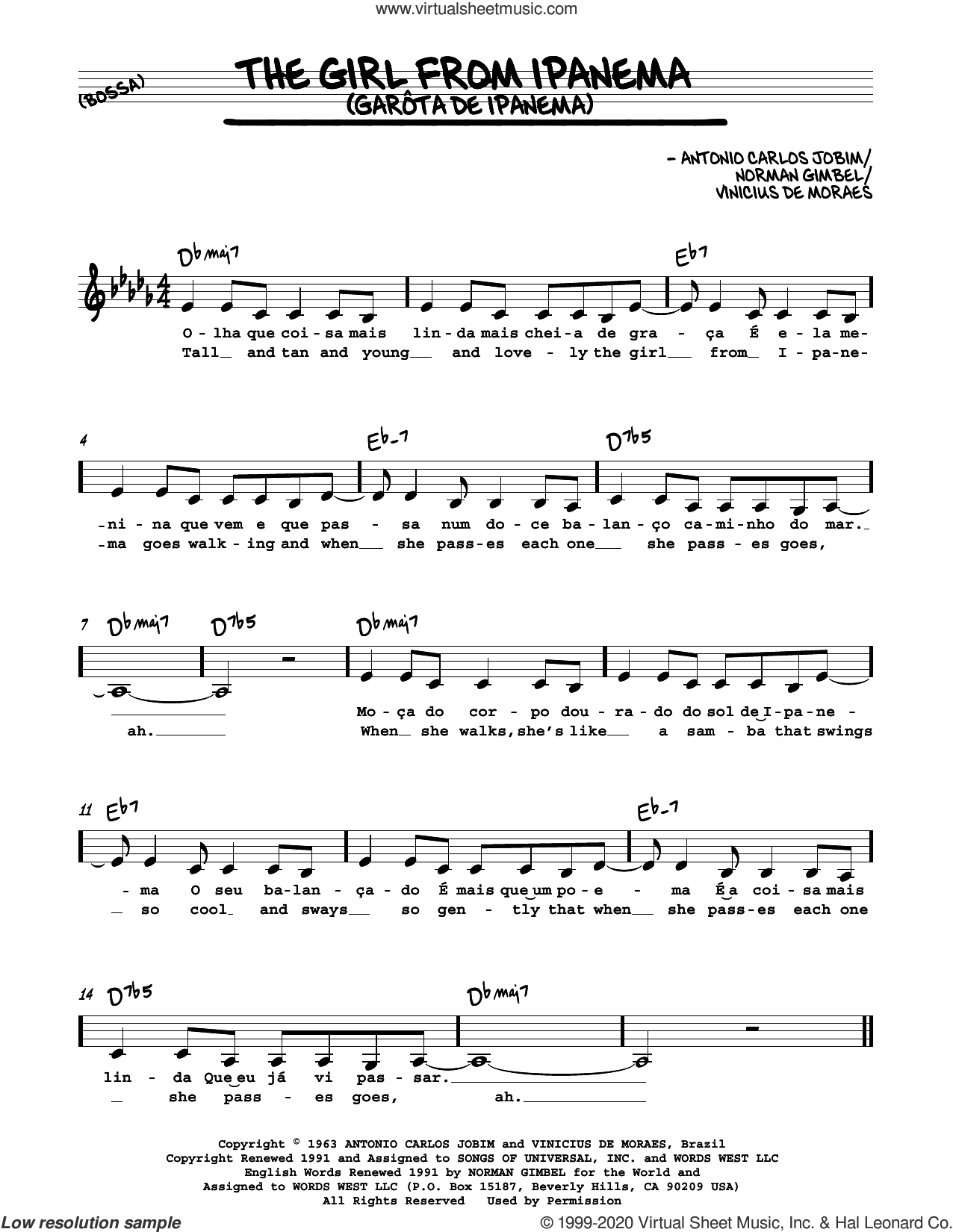 The Girl From Ipanema (Garota De Ipanema) sheet music for voice and other instruments (in C) by Norman Gimbel, Antonio Carlos Jobim and Vinicius de Moraes, intermediate skill level