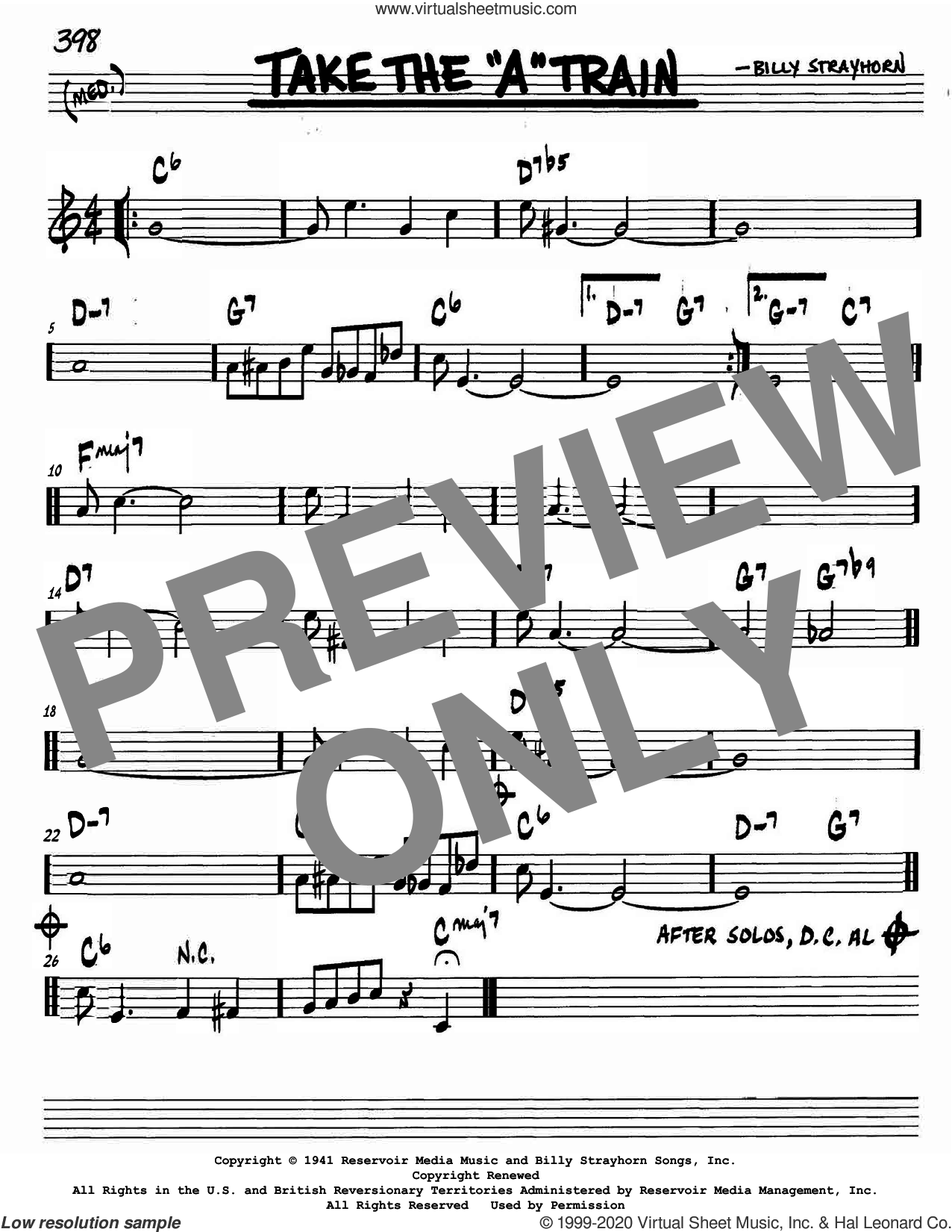 Take The 'A' Train sheet music for voice and other instruments (in C) by Billy Strayhorn, intermediate skill level