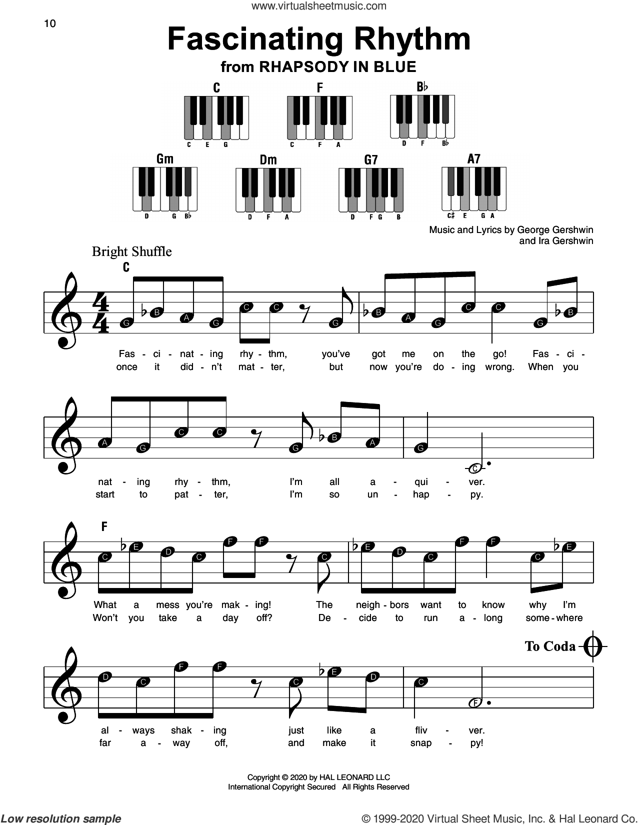 Fascinating Rhythm (from Rhapsody in Blue) sheet music for piano solo by George Gershwin, George Gershwin & Ira Gershwin and Ira Gershwin, beginner skill level