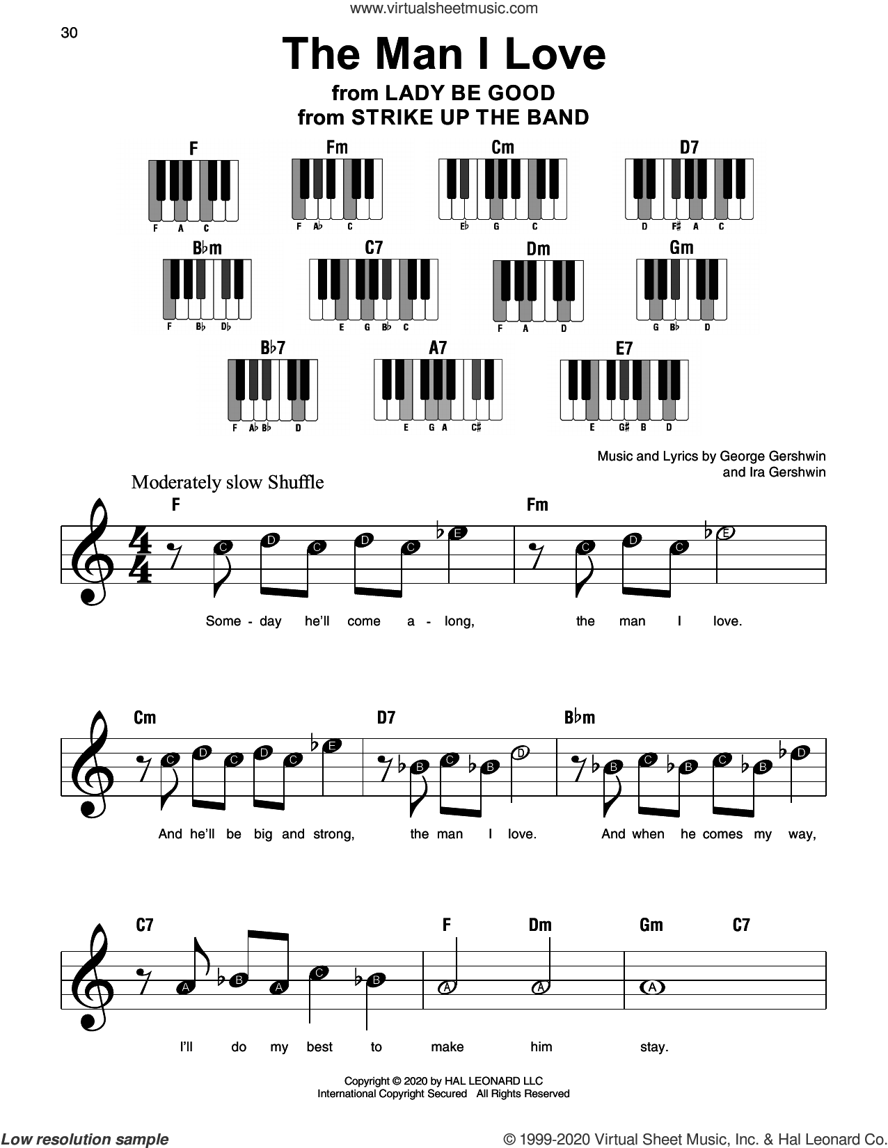 The Man I Love (from Strike Up The Band) sheet music for piano solo by George Gershwin, George Gershwin & Ira Gershwin and Ira Gershwin, beginner skill level